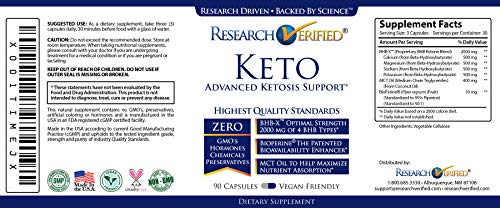 Research Verified Keto - Vegan Keto Supplement with 4 Exogenous Ketone Salts (Calcium, Sodium, Magnesium and Potassium) and MCT Oil to Boost Energy, Weight Loss and Focus in Ketosis - 6 Bottles 3