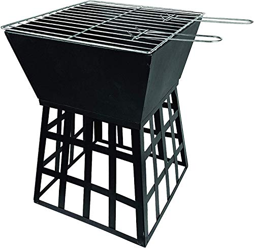 LIVIVO Outdoor Garden Fire Pit Brazier Burner Square Stove Outdoor Heater with Large Bowl for Logs or Coals