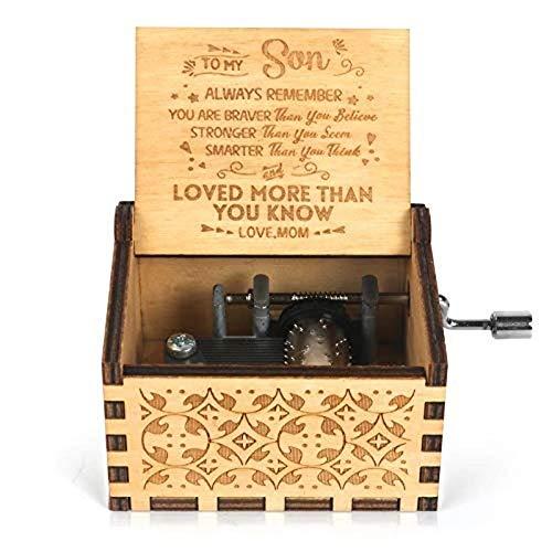 Caja de música de madera, mecanismo de caja musical grabado con manivela, antiguo, vintage, personalizable, regalo para la querida hija, hijo de papá, cumpleaños, Navidad, 1 pieza (Mom To Son)