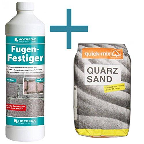 HOTREGA Fugen Festiger 1 Liter + Quarzsand quick-mix 10 kg - Set für Sandfugen
