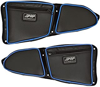 Pair of Side Door Bags For Stock 2 Seat Polaris RZR XP 1000 Doors With Blue Piping - One Driver Side Bag, One Passenger Side