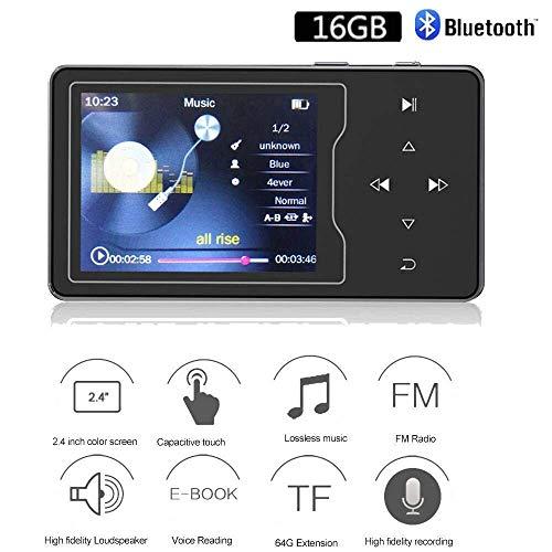 CCHKFEI C50 16GB Clip MP3 Player met Bluetooth 1.5 Inch Display Mini Draagbare Lossless Muziek Speler met FM Radio/Voice Record voor Hardlopen (Ondersteuning tot 128GB), MP3-C03-16GB-Black