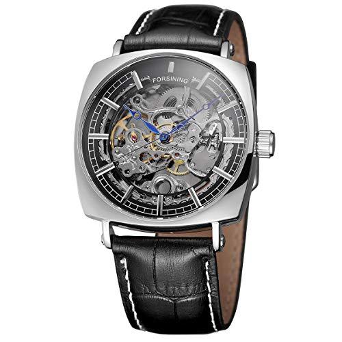 Forsining Herren Automatikuhr Mechanische Automatik Edelstahl Skelett Designer Armbanduhr Mann Klassisch Datum Kalender,colorD