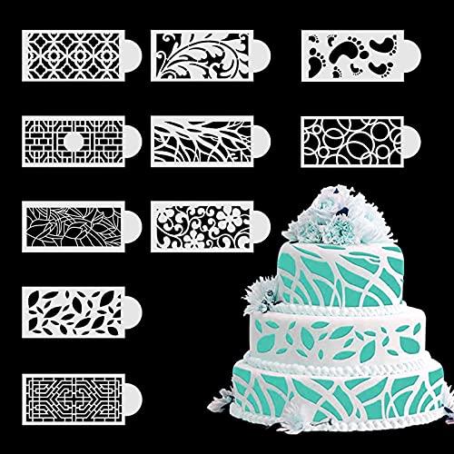 10PCS Cake Stencils Baking Stencils Wedding Cake Stencils Decorating Buttercream Cake Spray Mold Cake Lace Decorating Templates DIY Baking Decor Mold for Cake Decoration