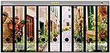 Wallario Ordnerrücken Sticker Südländische Gasse mit Alten Häusern und grüner Oase in Premiumqualität - Größe 54 x 30 cm, passend für 9 breite Ordnerrücken