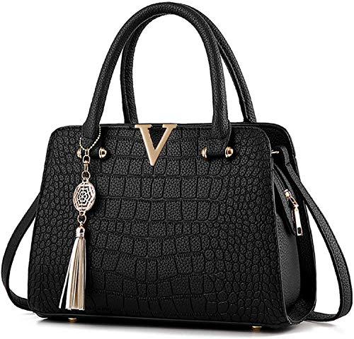 URAQT Handtasche Damen, Shopper Tragetaschen Damen Handtaschen PU Leder Tasche Schultertaschen Schwarz, Elegant Umhängetasche Geschenke für Damen mit Viele Taschen Fächer