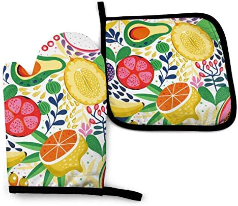 Kinds of Colorful Fruits Oven Mitts and Pot Holders Sets with Hanging Loop Non Slip Heat Resistant product image