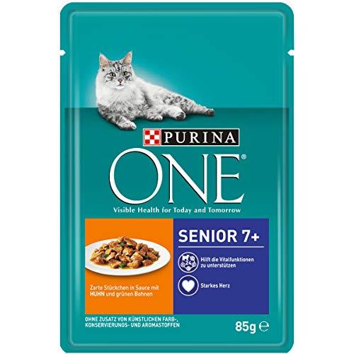 PURINA ONE SENIOR 7+ Katzenfutter nass, zarte Stückchen in Sauce mit Huhn, 24er Pack (24 x 85g)