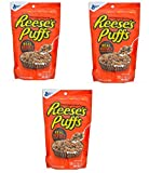 Reese's Puffs Cereal! 3 Pack 3.4 oz Each Resealable Pouches & 1 Color Changing Spoon! Great For Travel, Daycare, Zoo, Camping!