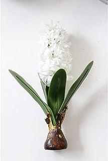 JIOAJIOA Flor Artificial Jacinto con Bulbos Cerámica Seda Flor Simulación Hoja Boda Jardín Decoración Hogar Mesa Accesorio Planta 1 Unid