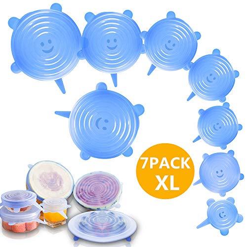 LITZEE 7 Pcs Couvercles Silicones Alimentaires, Couvercle Extensible Universel en Silicone sans BPA, 7 Tailles Différentes pour Micro-Ondes Four Frigo Lave-Vaisselle