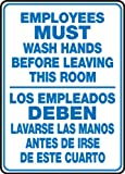 Accuform SBMRST578VP Plastic Spanish Bilingual Sign, Legend 'EMPLOYEES MUST WASH HANDS BEFORE LEAVING THIS ROOM/LOS EMPLEADOS DEBEN LAVARSE LAS MANOS ANTES DE IRSE DE ESTE CUARTO', 14' Length x 10' Width x 0.055' Thickness, Blue on White