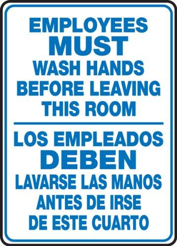 "Accuform SBMRST578VS Adhesive Vinyl Spanish Bilingual Sign, Legend ""EMPLOYEES MUST WASH HANDS BEFORE LEAVING THIS ROOM/LOS EMPLEADOS DEBEN LAVARSE LAS MANOS ANTES DE IRSE DE ESTE CUARTO"", 14"" Length x 10"" Width x 0.004"" Thickness, Blue on White"