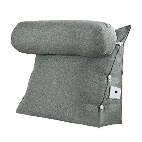 VERCART - Cuscino da lettura, base triangolare, con supporto cilindrico, regolabile, per divano letto, sostegno per schiena e collo, in lino, sfoderabile, Lino, Grigio/Verde, 60x50x22cm