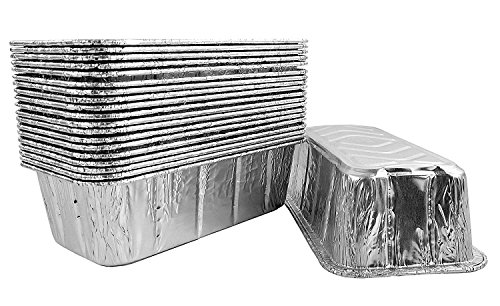 Pactogo 2 lb. Disposable Aluminum Foil Loaf Bread Baking Pan 8.6' x 4.5' x 2.6' - Heavy Duty Made in USA (Pack of 10)
