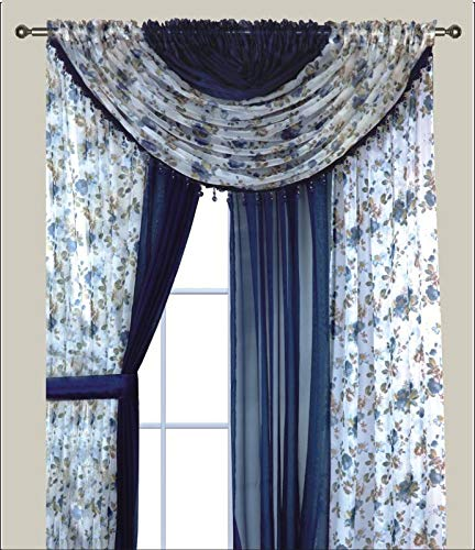 Sapphire Home Complete Window Sheer Voile Floral Curtain Panel Set w/4 Attached Panels (55x84 Each) and 2 Attached Valances w/Beads and 2 Tiebacks - Easy Installation - Multicolor Blue Rose Navy