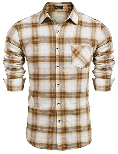 COOFANDY Herren Hemd Slim Fit Karohemd Kariert Langarmhemd Freizeit Party Shirt Kariertes Hemd Schwarz für Männer