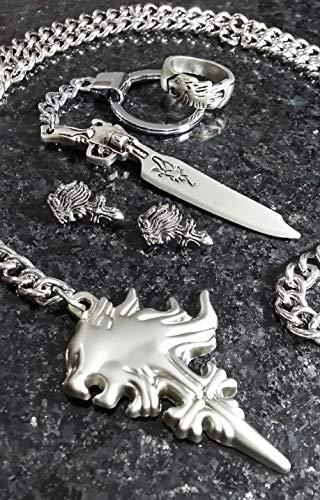 Final Fantasy VIII Squall Collar + Anillo + Pendientes + Llavero | FF8 Griever Cosplay Dissidia Cloud XV 15