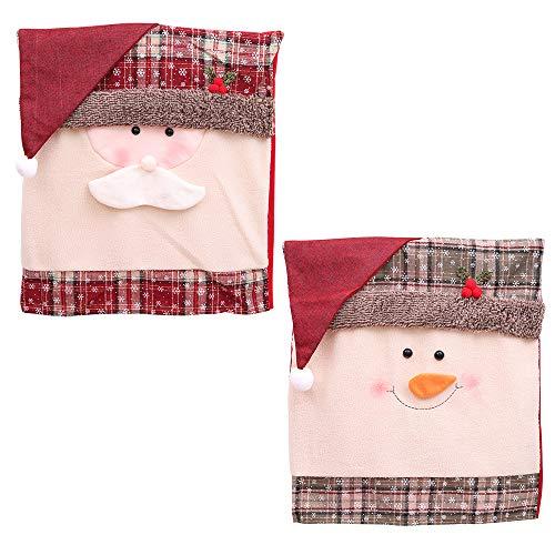 Stuhlhussen Weihnachtsschmuck Sale - Weihnachtsmann Red Hat Stuhl Back Cover Christmas Dinner Table Party Decor Weihnachtsfeier Dekoration Set (2 Teile)
