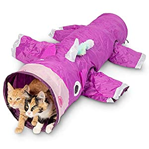 Pet Craft Supply Magic Mewnicorn Multi Cat Tunnel Boredom Relief Toys with Crinkle Feather String for Dogs, Cats…