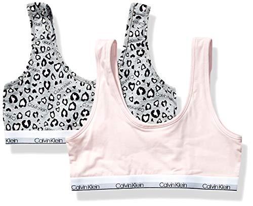Calvin Klein Girl's Modern Cotton Bralette Underwear, ck Leo Heather, Crystal Pink, Medium, M,Little Girls