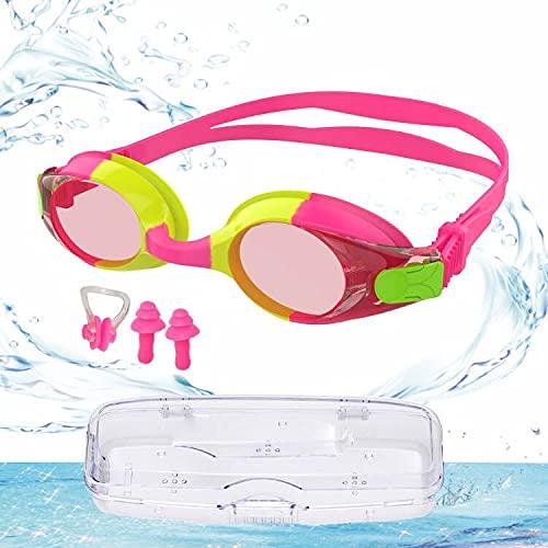 Occhialini Nuoto Bambini, Occhiali da Sub per Bambini, Occhialini Nuoto Bambino 6-14, Anti Fog Anti-ultravioletto. Con 2x tappi per le orecchie, 1x clip per il naso