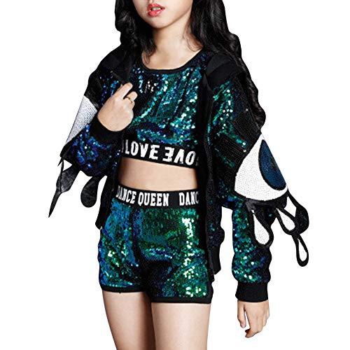 Daytwork Tanzsport Mädchen Shorts Sets - Kinder Erwachsene Jazz Hip Hop Modern Bühne Kostüme Pailletten Anzüge Weste Jacken Tanzbekleidung