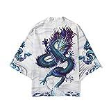 Kimono tradicional para mujer, Kimono Cardigan mujeres hombres japoneses masculinos Yukata hombres Haori Onda japonesa Carp Print Coat tradicional Japón Ropa,Blanco-XXL