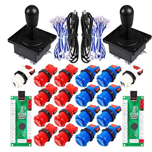 Clásico juego de arcada de DIY parte de Mame USB gabinete Zero Delay codificador USB Arcade Joystick + 18 arcade de botón (incluyendo 1p / 2p del comienzo del botón Push) Kits + Azul Color Rojo