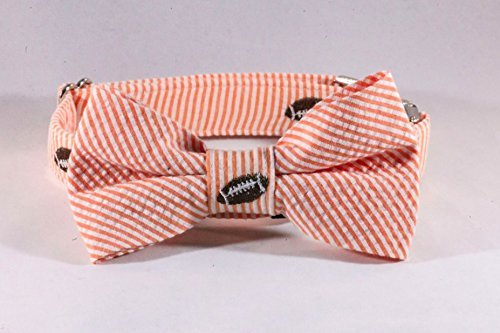 Preppy Football Orange Seersucker Dog Bow Tie Collar, Tennessee Vols