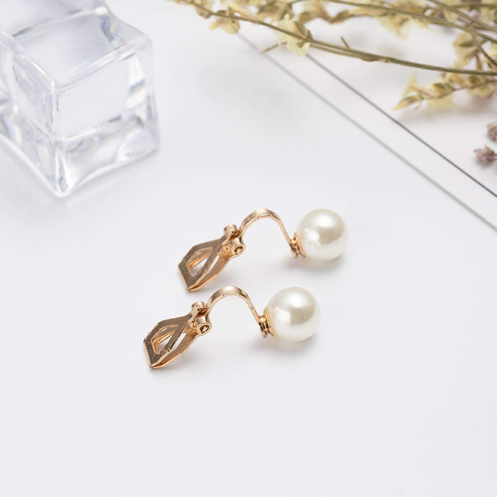 SE-08 ADAIER Clip On Stud Earrings with 8mm Simulated Freshwater Shell Pearl,Non-Pierced Ears Jewelry for Women Girls