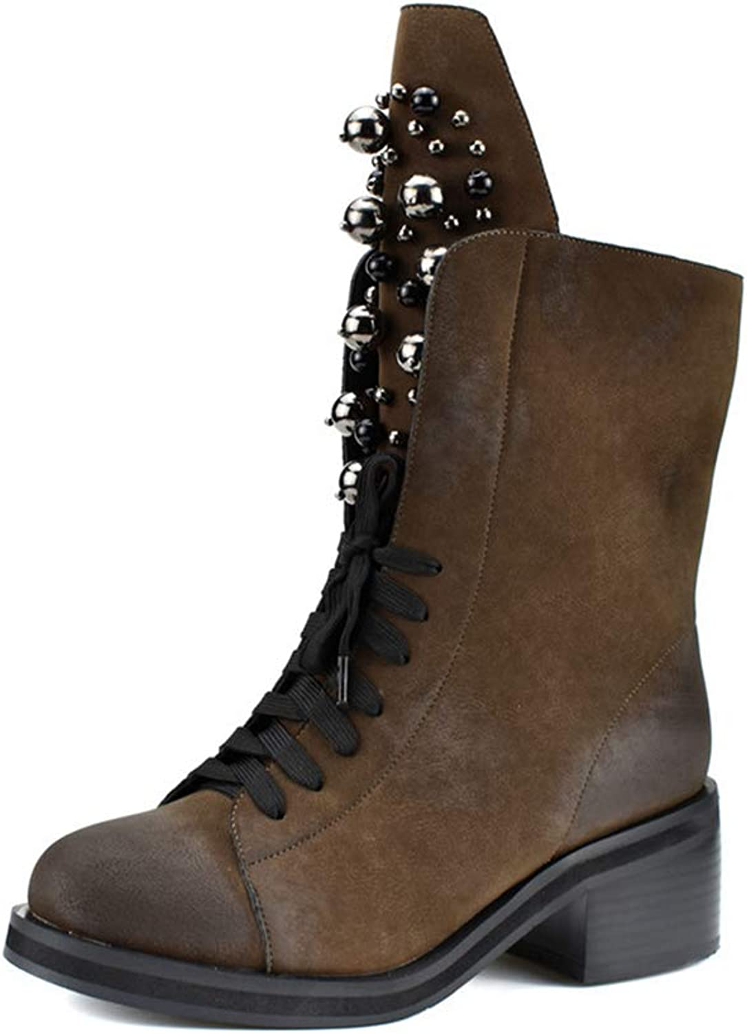 Womens Square High Heel Calf Boots Round Toe Rubber Sole Lace Up Short Plush String Bead Warm shoes