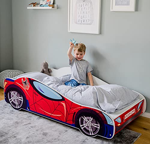 Autobett 160x80 Spielbett Kinderbett mit Lattenrost 80 x 160 Bett Kinder Rennfahrer Spider