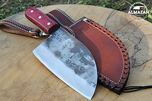 ArtMuseKitss Official Original Hand Forged Almazan Chef Kitchen Knife with Leather Sheath