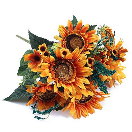 NAHUAA Künstliche Sonnenblumen Realistische Retro Kunstblumen Sonnenblume Strauß Seidenblumen Plastikblumen Deko für Balkon Garten Topf Blumenkasten Friedhof Hochzeit Frühling Tischdeko 1Pcs