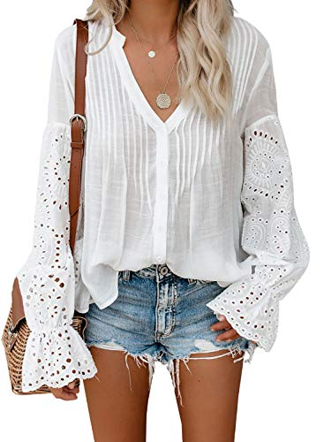 Canikat Women's Cute Summer V Neck Rekindle Eyelet Flowy Bell Long Sleeve Blouses Solid Casual Loose Ruffles Button Down T Shirts Tops White S