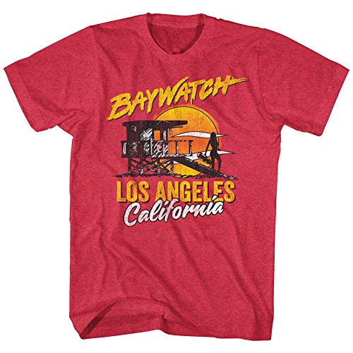 Baywatch Los Angeles California Sunset T-shirt, Red for Men