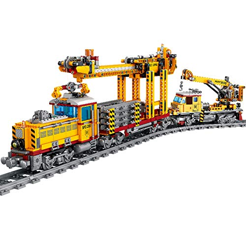 ZJLA Advent Calendar Train Track Set DIY Building Block Model Locomotive Train Toy with Light, 1174+Pcs Compatible with Lego Technic (Train Dpk32)