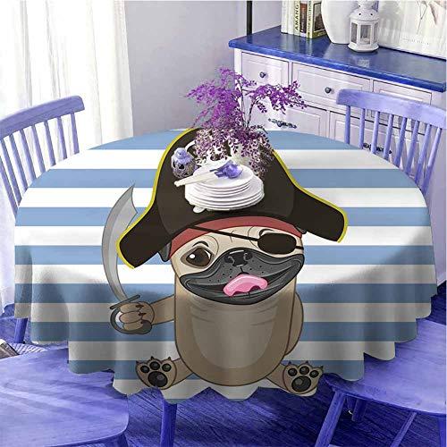 Pao de mesa redonda para interior pirata, diseo de perro bucanero en dibujos animados estilo disfraz Lil pirata rayas teln de fondo divertido animal suave al tacto dimetro 71 pulgadas multicolor