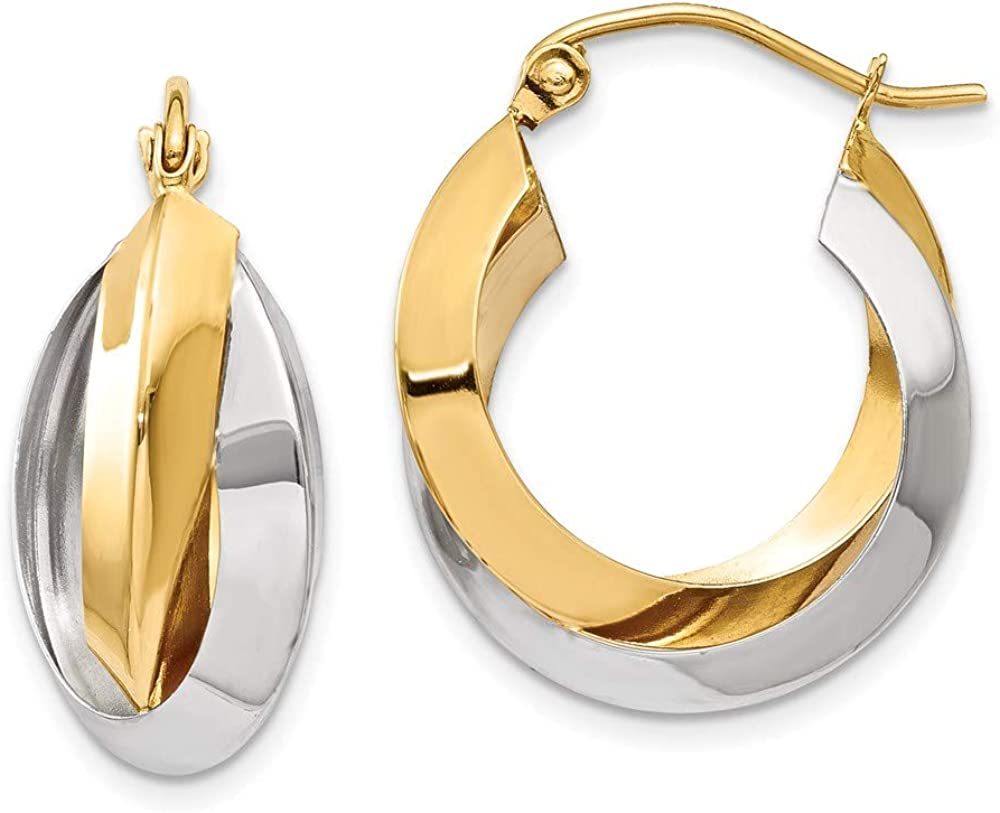 14k Two Tone Yellow Gold Knife Edge Double Hoop Earrings Ear Hoops Set Round Fine Jewelry For Women Gifts For Her