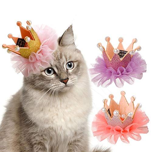 ADIASEN Kant Kroon Ontwerp Leuke Teddy Pubby Kitten Bloem Ontwerp Haar Clip Baret voor Katten, Hond, Andere Huisdieren Haaraccessoires, ORANJE