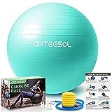 palla fitness, arteesol palla pilates fitball anti-scoppio 45cm/55cm/65cm/75cm/85cm palla da ginnastica con pompa rapida per fitness yoga e pilates (55cm, oceano blu)