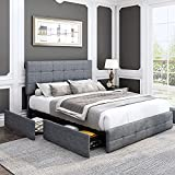 Kealive Upholstered Platform Bed Frame with 4 Storage Drawers, Adjustable High Headboard with Button Tufted Design, Wooden Slat Support, No Box Spring Needed, Easy Assembly, Full Size, Light Grey