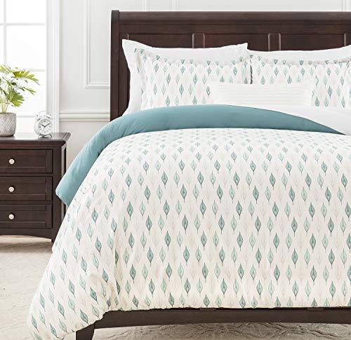 Chanasya Ultra Soft Leaves Print 3-Piece Reversible Bedding Queen Duvet Cover Set - Luxurious Brushed Microfiber Comforter Cover - Zipper Closure (1 Duvet Cover & 2 Pillowcases) Tan Mint - Queen