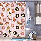 Duschvorhang ohne Marke, süße Schokoladen-Donuts & Eiscreme, wasserdicht, mit 12 Haken, maschinenwaschbar, für Badezimmer-Dekoration, Polyester, 182,9 x 182,9 cm