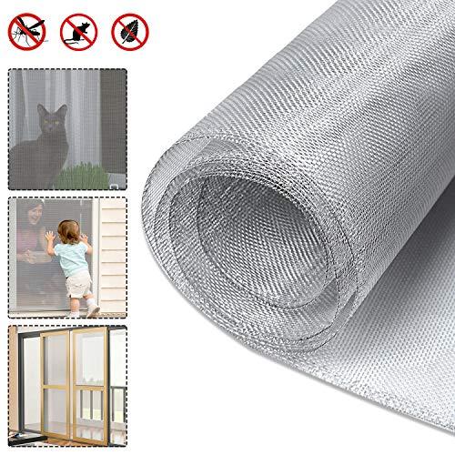 UISEBRT Insektenschutz Fliegengitter Meterware Aluminium Gewebe für Fenster Lichtschächte Balkontür Terrassentür, 100×250cm, Silber