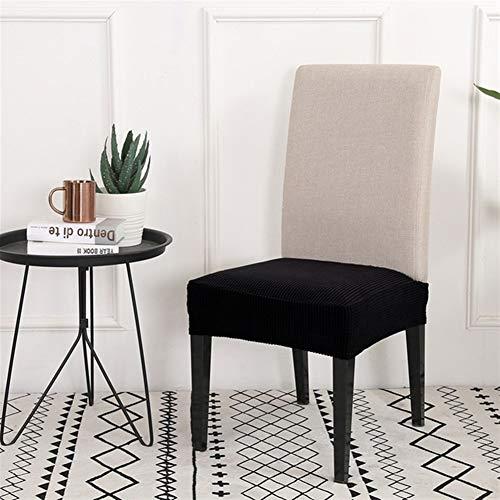 Cojines de silla de jardín minimalista sólidos, color de escritorio, funda para asiento de silla, elástica, funda de silla de alta calidad, antisual, para Seat Protector, negro, 2 unidades