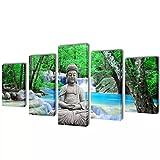 Tidyard Set Decorativo de lienzos para la Pared Modelo Buda, 200 x 100 cm