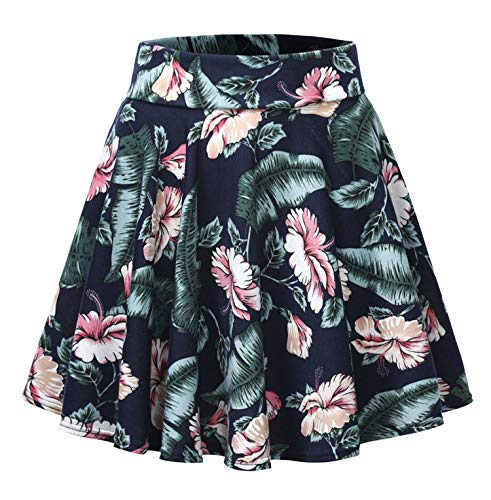 Urban CoCo Women's Floral Print Flared Mini Skater Skirt (L, 4)