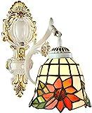 Lámpara industrial, Tiffany Light Light Mediterráneo Estilo Mediterráneo Retro Europeo Mosaico Lámpara de Pared Girasol Color Pintado Lámpara de vidrio Shade Peacha Individual Hierro forjado PROCESO H